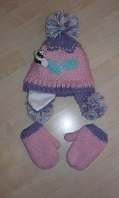 Girls Next Pink Hat and Mittens - 3-6 years