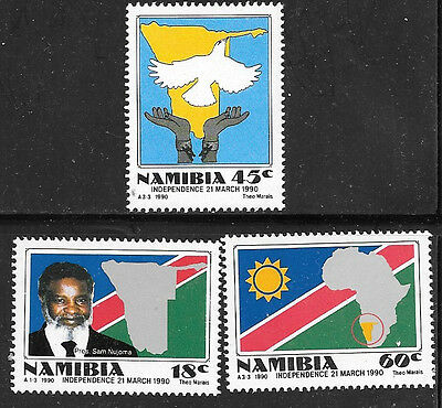 NAMIBIA 1990 INDEPENDENCE FROM SOUTH AFRICA Sc#659-61 COMPLETE MNH SET 0928