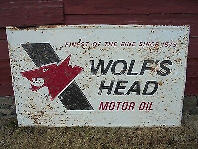 "Vintage Wolfs Head Motor Oil SIGN 36""x60"" Service Gas Station Garage Advertising"