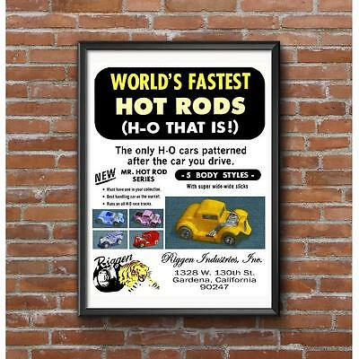 1971 Riggen Industries Mr Hot Rod Series HO Scale Slot Cars Promotional Poster