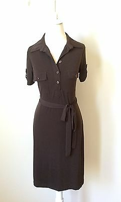 NWT Women's Short Sleeve Stretch Knit Belted Dress Sz 4 INTERMISSION Brown