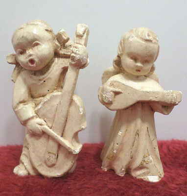 Antique Christmas Angels playing instruments