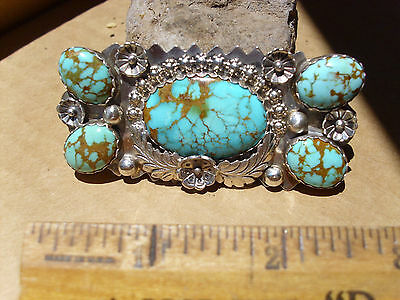 """Sterling Silver and Kingman Turquoise pin.3"""" x 1 1/2""""."""