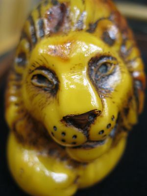 Natural Baltic Amber Uniqe Statuette Lion 166 g