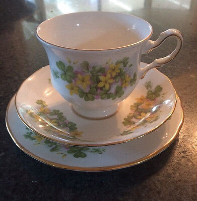 VINTAGE -  QUEEN ANNE BONE CHINA CUP SAUCER and PLATE TRIO - Made In England