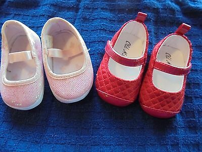 2 Prs Perfect Baby Girl's Size 1/ 0-3M Red Satin Old Navy Shoes & Pink Shoes