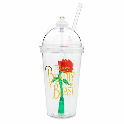 DISNEY Parks BEAUTY AND THE BEAST Light-Up ENCHANTED ROSE TUMBLER with Straw NEW