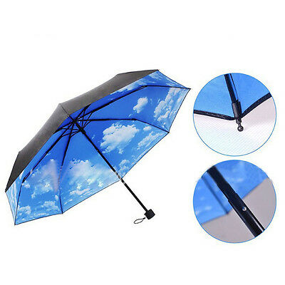 The Super Anti-uv Sun Protection Parasols Rain Umbrella Blue Sky 3 Folding Gift