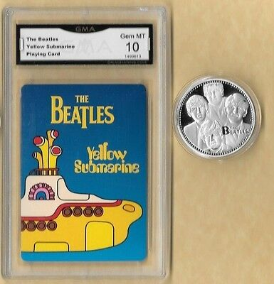 """BEATLES """"YELLOW SUBMARINE"""" PLAYING CARD 10 MINT & Silver  Coin"""