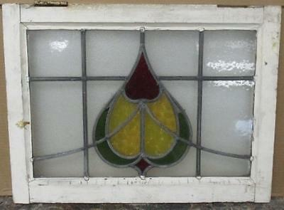 """OLD ENGLISH LEADED STAINED GLASS WINDOW Pretty Abstract Floral 22"""" x 16.5"""""""