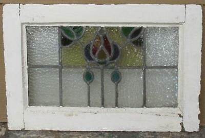 """OLD ENGLISH LEADED STAINED GLASS WINDOW Awesome Floral Abstract 23"""" x 15"""""""