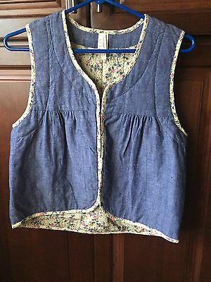 Women's Vintage Levi's San Francisco Denim Chambray Quilt Lined Vest S FREE SHIP