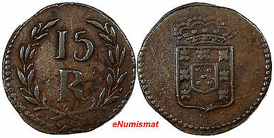 India-Portuguese GOA Maria II Copper (1834-53) ND 15 Reis ch.VF KM# 263