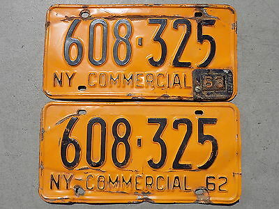 1962 New York NY Pair of Commercial License Plates w/ 1963 Tab 608-325 ~FreeShip