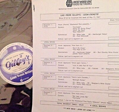 Radio Show: LIVE FROM GILLEY'S LEON EVERETTE  5/11/87  10 LIVE IN CONCERT TUNES