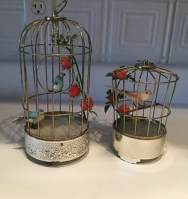 Vintage Musical Singing Bird Brass Cage Music Box Toy Battery Lot