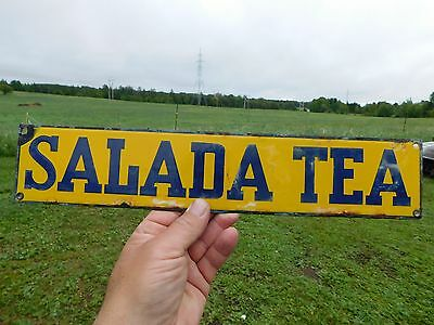 RARE ORIGINAL VINTAGE 1930's ANTIQUE PORCELAIN SALADA TEA DOOR PUSH BAR EMBOSSED