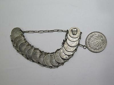 Authentic Mexico Coins Bracelet Jewelry Centavos Peso Hanger Old Collection Lot