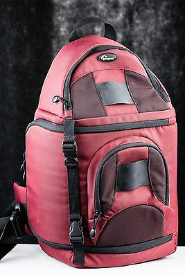 "LOWEPRO SLING CAMERA BACKPACK LP126 Maroon/Red 18"" tall FITS DSLR + ACCESSORIES"