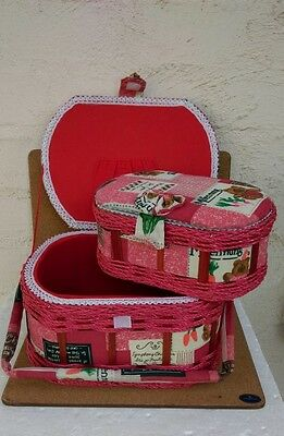 Brand New Fabric Lidded WovenSewing Boxes-2 in 1