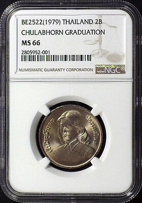 Be2522 (1979) First 2 Baht Coin Minted - Ngc Ms66 Princess Chulabhorn Graduation