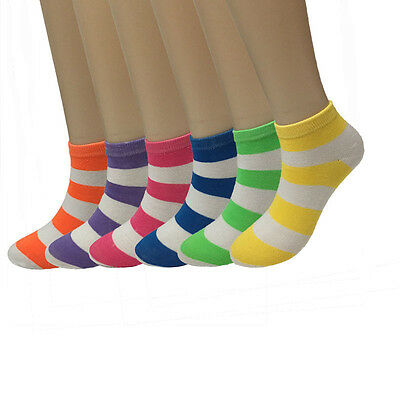 New Womens  Lot 12 Pairs Striped Multi Color Casual Cotton Ankle Socks Size 9-11