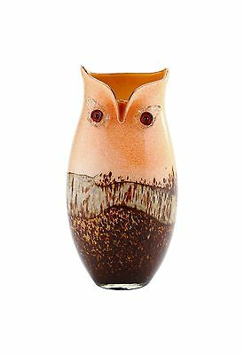 "New 13"" Hand Blown Glass Art Vase Owl Pitcher Brown Orange Decorative"