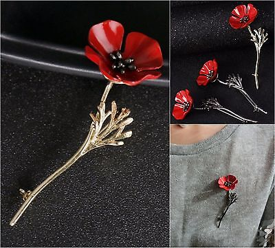 2017 Vintage style Red Poppy Flower Brooch Lapel Pins