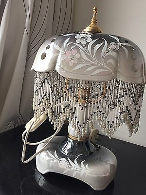 Elegant Vintage Hand Painted Floral Table Lamp With Beaded Fringe