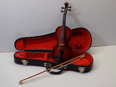 """Vintage MINIATURE VIOLIN with Bow and Case Salesman Sample Doll Size Detailed 8"""""""