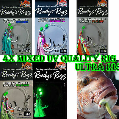 10x Snapper Fishing Rigs Tied Paternoster Rig Reds 60lb Leader Circle Hook