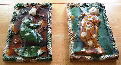 2 Old Antique Chinese Dragon Glazed Ceramic Roof Tile Tiles Plaque Rare