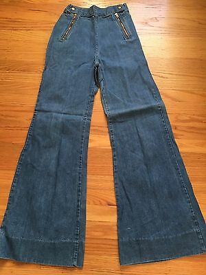 Vintage 70s Bell Bottom Denim Jeans Woman Navy Style High Waisted Wide Bells