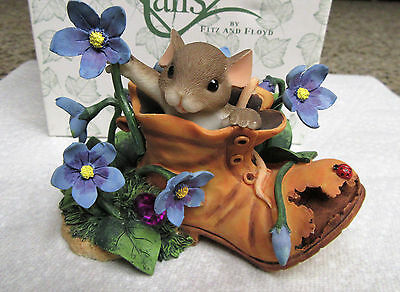 """Charming Tails """"As a Friend You're a Shoe In"""" Fitz Floyd Mouse Figurine NIB"""