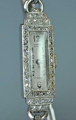 Antique Nastrix Art Deco Diamond & Platinum Case Ladies Watch - Running