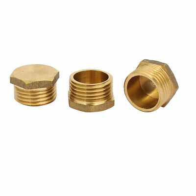 3 Pcs 1/2BSP Male Thread Brass Hex Head Pipe Plug Connector Fitting