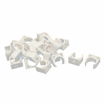 20mm Dia PVC U Shaped Pipe Fitting Clamps Clips Water Tube Holder White 30pcs