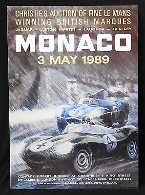 1989 Christie's MONACO LE MANS 24 Hours Auction Poster JAGUAR ASTON BENTLEY