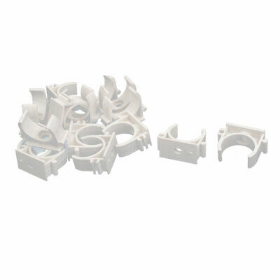 1 Inch Dia PVC U Shaped Pipe Fitting Clamps Clips Water Tube Holder White 15pcs