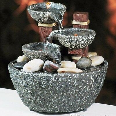 "Water Rock Fountain w/ LED Lights Zen Indoor Home Decor 5""H New"