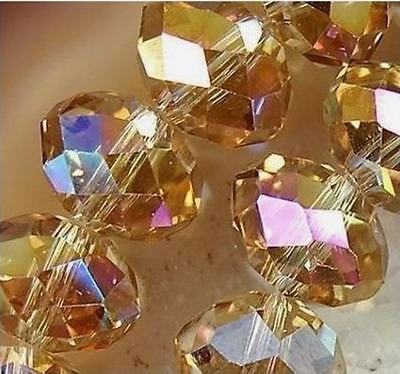 Girls Faceted Rondelle Jewelry Bicone Craft Glass Crystal Beads AB Yellow 4MM