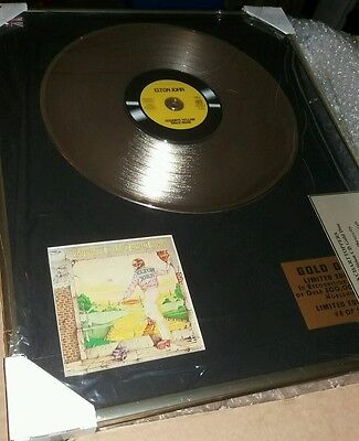 Rare investment opp Elton John Gold Disc Award RARE Goodbye Yellow Brick Road