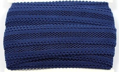 Navy- 16mm stretch Polyester Applique Ribbon Lace Edge Trim DIY Sewing Craft