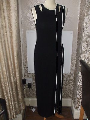 Ladies Dress Joseph Ribkoff Black Stretch Maxi Evening White Piping Size 10