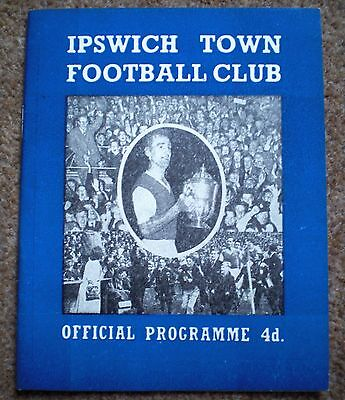 IPSWICH TOWN v TSV ALEMANNIA AACHEN 1962 Rare FRIENDLY MATCH FOOTBALL PROGRAMME