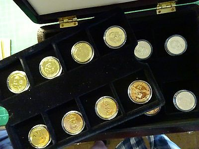 GOLD PLATED US PRESIDENTIAL DOLLAR COLLECTION Coins In Case With Certificate