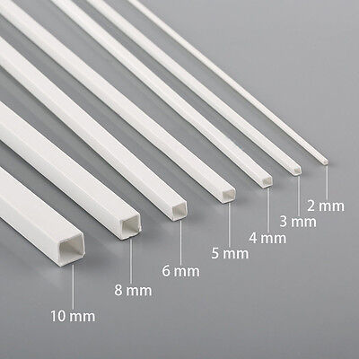 7pcs Styrene ABS Square Tube 500mm 2/3/4/5/6/8/10mm in Diameter