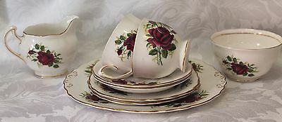 Vintage dramatic deep red rose bone china tea for two set from Colclough