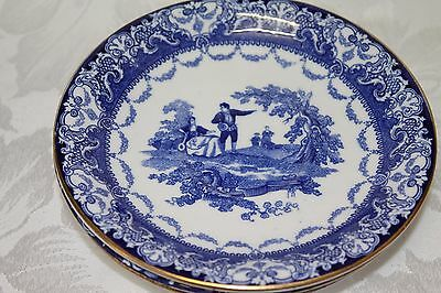 collection of  Doulton flow blue Watteau plates and saucers c1900
