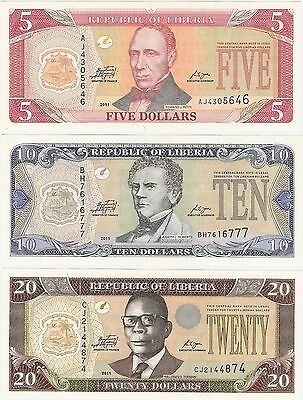 Liberia 5 10 20 Dollars 2009 2011 UNC Uncirculated Banknote Set - 3 pcs